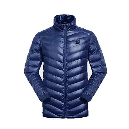 DZX verwarmingsjas, elektrisch, warme kleding, met USB-kabel, voor outdoor-reizen, camping, fietsen, skiën, kleur: zwart/blauw blauw-M