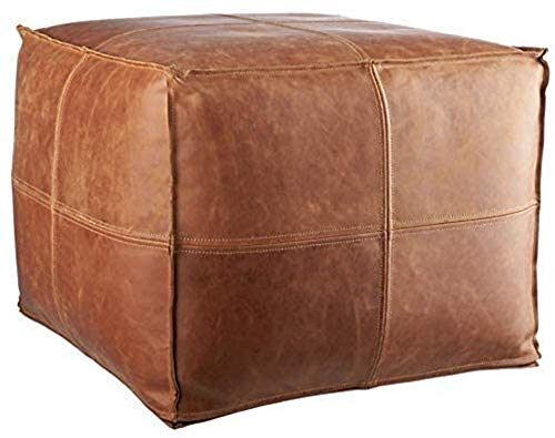 "LEATHEROOZE Handmade Unstuffed Leather Moroccan Pouf Seat Boho Ottoman 18x18x14"" / Living Room Bedroom TV Room/A Square with Beautiful Set of 2..."