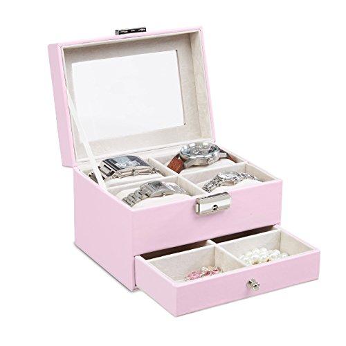 Relaxdays Uhrenbox mit Sichtfenster, Schmuckkästchen für 4 Uhren, abschließbar, Kunstleder, HxBxT 11x16,5x12,5cm, rosa