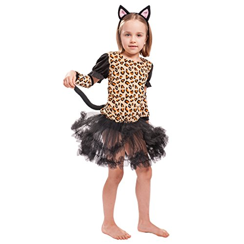 EraSpooky Mädchen Wenig Niedlich Leopard Halloween Kostüm Kleid Set