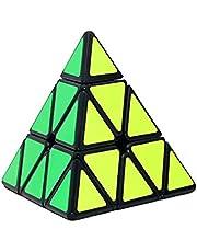 Pyramid Speed ??Cube Triangle kolfiber klistermärke Twisty Puzzle för barn Intelligence Development hastighet cubing nybörjare eller Pusselentusiaster (Svart) Barnens leksaker