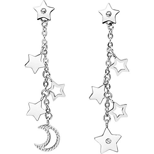 Orecchini pendenti in acciaio 316L con stelle e luna e cristalli Swarovski©Elements. BAH23