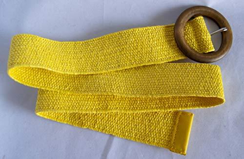 Cinturón elástico de rafia color amarillo y hebilla de madera. Envío GRATIS...