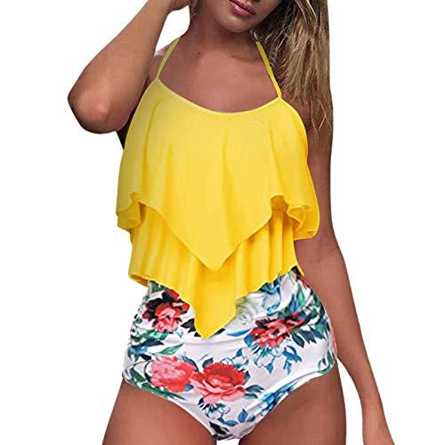 Sdacndas Bikini de cintura alta y acolchado para mujer, con volantes, bikini push-up, bikini de corte alto, braguita push-up, sujetador push-up, traje de baño de dos piezas, D-amarillo., M