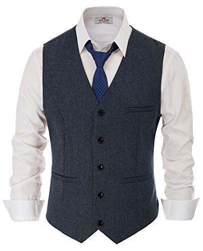 PaulJones Anzug Weste Herren Slim Fit Anzugweste V- Ausschnitt Elegant Retro Business Hochzeit Freizeit Tweed Weste (Large, Dunkelbalu)