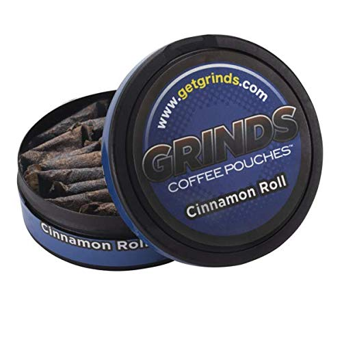 Grinds Coffee Pouches | 6 Cans of Cinnamon Roll | Tobacco Free, Nicotine Free Healthy Alternative | 18 Pouches Per Can | 1 Pouch eq. 1/4 Cup of Coffee (Cinnamon Roll)