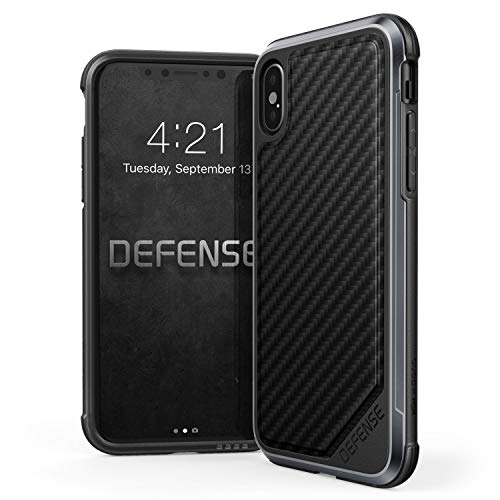 iPhone X, iPhone Xs Case, X-Doria Defense Lux Series - Military Grade Drop Tested, Anodized Aluminum, TPU, and Polycarbonate Protective Case for Apple iPhone X/Xs (Carbon Fiber) (Renewed