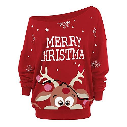 Auifor Weihnachtspullover Damen Schulter Tops,Netter Elchdruck sexy Casual Basic...