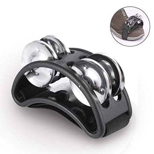 Foot Tambourine Percussion Drum Accessory Companion Metal Jingle Bell Musical Instrument Black