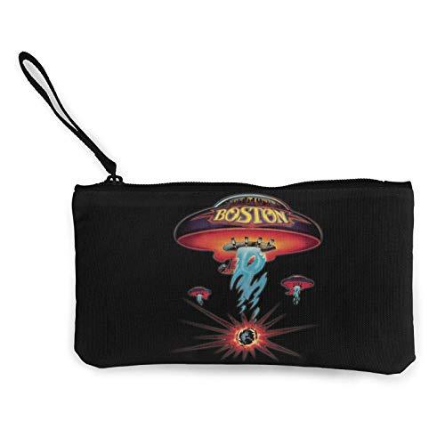 Monedero de Lona Unisex con Logotipo de Boston Rock Band, con Cremallera Bolsa Multifuncional para teléfono móvil con asa