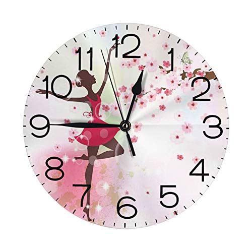 Wall Clock Ballet Butterfly Fairy Ballerina Princess Dancer Flowers Floral Girls Party Decorative Wall Clocks Silent Non Ticking 9.84Inch Round New Life Decorative for Home Office School Clock Girls