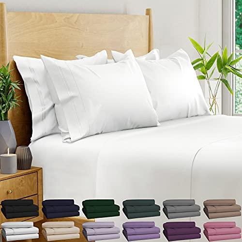 6 Piece Bamboo Sheets 100% Organic Bamboo Sheets Bamboo Bed Sheets Cooling Sheets Deep Pocket Bed Sheets King Size, White