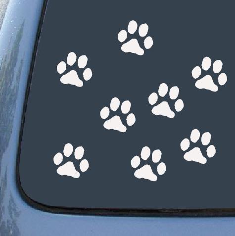 動物 犬 足跡 足型 肉球 マーク ステッカー シール デカール ホワイト 8個セット (ミックス2.5cm×4個 5c...