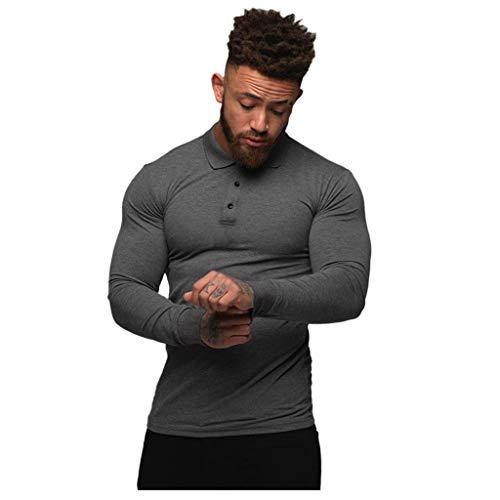 Yowablo Tee-Shirts Tee Shirt T Shirt T-Shirt Haut Manche Longue Tshirt T Shirts Polo Hommes Mode Sport Bouton Stretch T-Shirt Serré Stretch Chemise À Manches Longues (M,Gris)