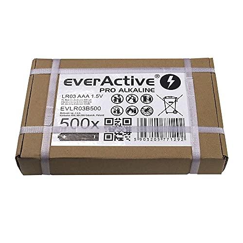 everActive AAA Batterien 500er Pack, Pro Alkaline, Micro LR03 R03 1.5V, höchster Leistung, 10 Jahre Haltbarkeit, 500 Stück