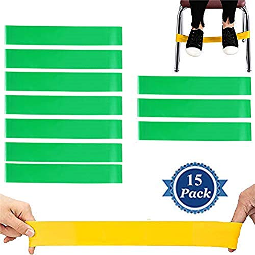 fun deal 15 PCS Chair Bands Stretch Foot Band,Fidget Bands Bouncy Kick Fidgets for Elementary, Middle, High School Students and Adults for Classroom Chairs and Desk Fidget Feet Band (Green)
