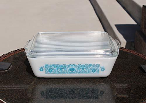 Pyrex Horizon Blue #503 Rectangular Refrigerator Baking Casserole Dish with Ribbed Lid 1-1/2 Quart