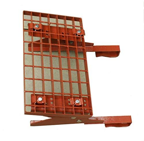 Universal Dachtritt Rot mit 25 cm Gitterrost und 42 bis 150 cm Länge (80 cm - 2 Stützen)