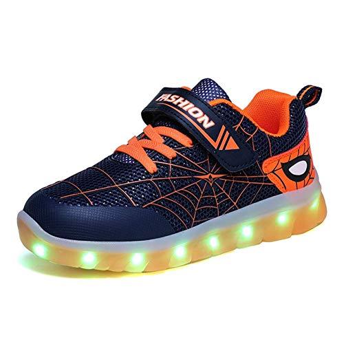 Inrrari Unisex Schuhe Leuchtschuhe für Jungen und Mädchen LED Spiderman Design Sneaker leichte Freizeitschuhe Laufschuhe Turnschuhe Verbesserung 7 Farbe Blinkende Leuchtende Light up Low Top Sneakers