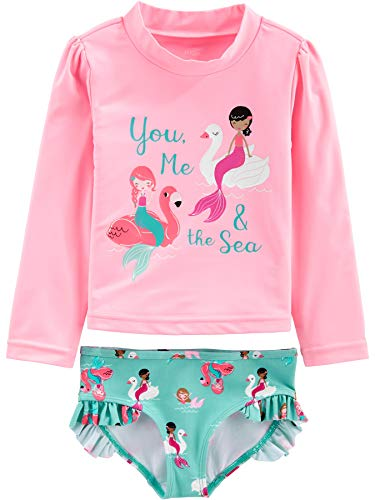 Simple Joys by Carter's Girls' Toddler 2-Piece Rashguard Set, Pink Mermaid, 3T