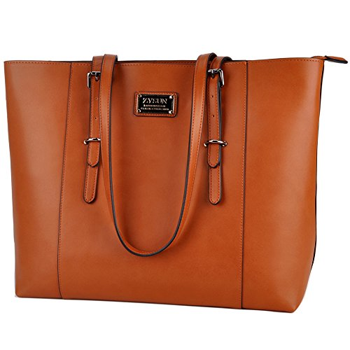 ZYSUN Laptop Tote Bag Fits Up to 15.6 IN Awesome Gifts for Women (1-Brown)