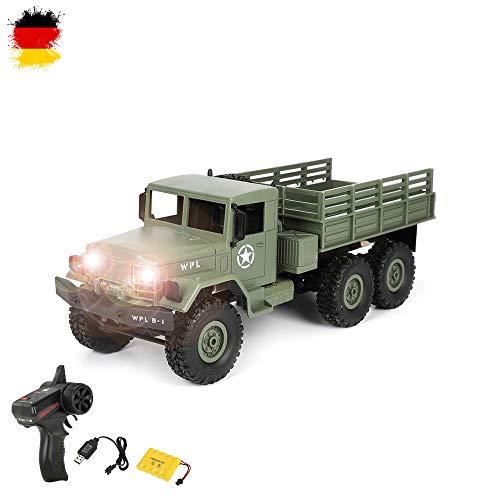 Himoto HSP M35 Design RC Ferngesteuerter Off-Road Militär Army Truck mit Akku, Fernsteuerung und Ladekabel, 2.4GHz Fahrzeug Modell, 6WD Transporter, Truck, LKW, Crawler, Komplett-Set