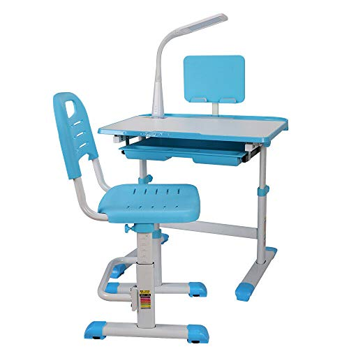 Escritorio infantil regulable en altura, mesa de estudiante, escritorio para niños de 3 a 12 años, Girls Boys, con mesa de madera inclinable, soporte para libros, cajón extraíble y LED azul