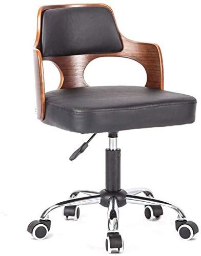 Comfortabele bureaustoel massief houten lift kleine platte bureaustoel computerstoel compacte huishoudelijke lederen bureaustoel stoel draaibare stoel zacht Zwart