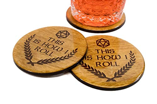 Premium Dungeon Master Coaster Set - This Is How I Roll - 4 3.5' Engraved Wood DND Dungeons and Dragons