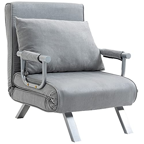 HOMCOM Modern 2-In-1 Design Single Sofa Bed Sleeper Foldable Portable Armchair Bed Chair Lounge Couch with Pillow for Living Room, Bedroom, Light Grey