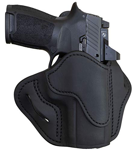 1791 GUNLEATHER Sig P320c Optic Ready Holster - OWB CCW Holster - Right Handed Leather Gun Holster for Belts - HK VP9sk, HK P2000, HK 45c, SIG P229c and Most compacts with Rails (Stealth Black)