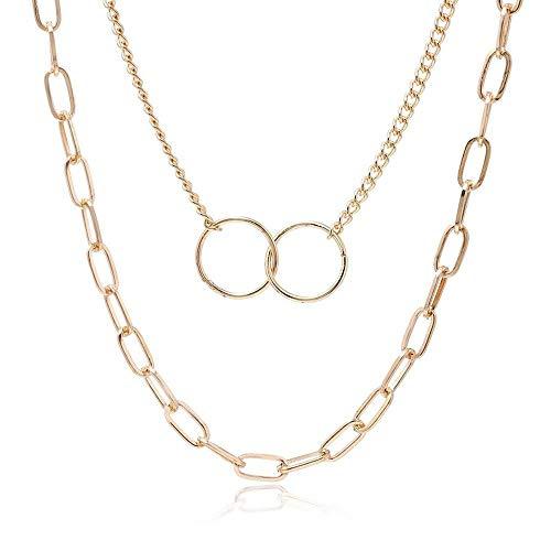 AAA Elegante y simple hebilla de dos anillos collar de múltiples capas de collar versión coreana de la tendencia diseño creativo collar