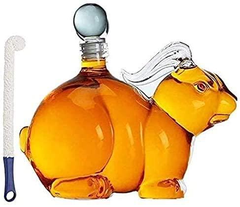 Chunjiao 1000ml forma animale a forma di whisky decanter mano soffiata forma di coniglio caraffa caraffa con tappo alto vetro borosilicato perfetto per ufficio camera da letto soggiorno Bicchiere da w