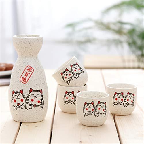 5 unids/lote Japón Porcelana Vintage Cerámica Cerámica Flagón Liquor Spirits Tazas Conjunto Cocina Comedor Bar Bebida Embarque Japanese Sake Wine Set (Color : C)