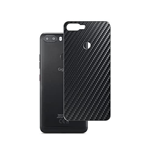 Vaxson 2 Stück Rückseite Schutzfolie, kompatibel mit Gigaset GS370 Plus, Backcover Skin - Carbon Schwarz [nicht Panzerglas/nicht Front Displayschutzfolie]