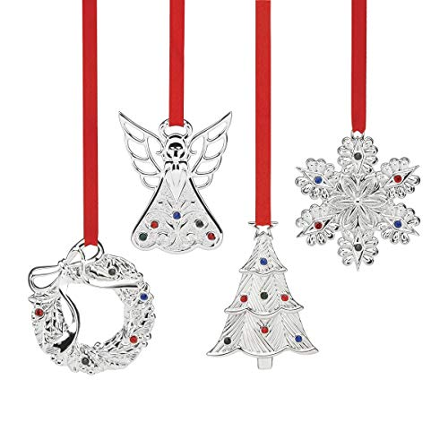 Lenox Jeweled Ornament 4-Piece Set, Metallic, 1.3 LB