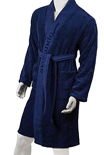 Aymando Scheich Collection - Albornoz unisex de lujo, calidad prémium, 100% algodón egipcio GIZA 86, 520 g/m², color azul oscuro, azul oscuro, M
