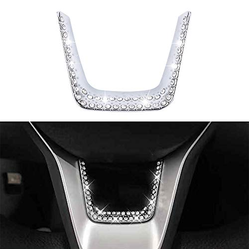 LECART Bling Car Interior Steering Wheel Decoration Frame for Honda Car Interior Bling Accessories Metal Steering Wheel Decorative Trim Crystal Covers Compatible for Honda Accord 2018 2019 2020 Silver