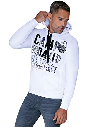 Camp David Herren Hoodie mit Raw Edges und Used Artwork, Opticwhite, 3XL