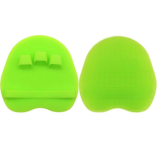 1 Pack Soft Silicone Shower Brush, Body & Face & Short Hair Wash, Bath Exfoliating Skin Massage Scrubber, Dry Skin Brushing Glove Loofah, Fit for Sensitive and All Kinds of Skin (Green)