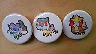 Legacy Pin Collection Pokemon Collectible 1 inch Buttons - Suicune, Raikou, and Entei Set - Custom Made - Pin Back - Gift Party Favor