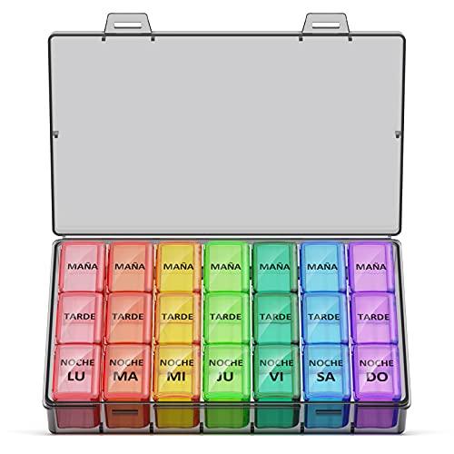 Pastillero Semanal 3 Tomas Español, Jaduoher Grande Organizador Medicamentos 7 Dias Diaria con 21 Compartimentos (Color)
