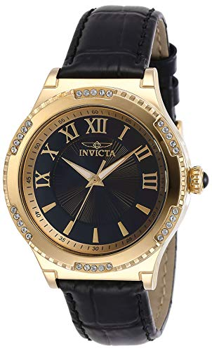 Invicta Women's Angel Stainless Steel Quartz Watch with Leather Strap, Black, 18 (Model: 28605)