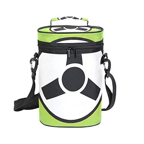 Fantasazio Kühler mit Lenkrad-Icon, isoliert, auslaufsicher, gepolstert, für 2 Flaschen, Wein-Transporttasche, Tragetasche für Reisen, Camping und Picknick