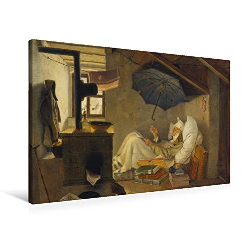 fotobar!style Premium-Leinwand 90 x 60 cm Keilrahmen, Tiefe 2 cm Carl Spitzweg - Der Arme Poet. 1839