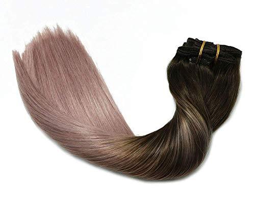 Clip In Hair Extensions Human Hair Ombre Hair Dark Brown Fading to Pink Gray Brazilian Hair 120g 7pcs Per Set Remy Human Hair Full Head Silky Straight Human Hair Clip In Extensions 18 Inch