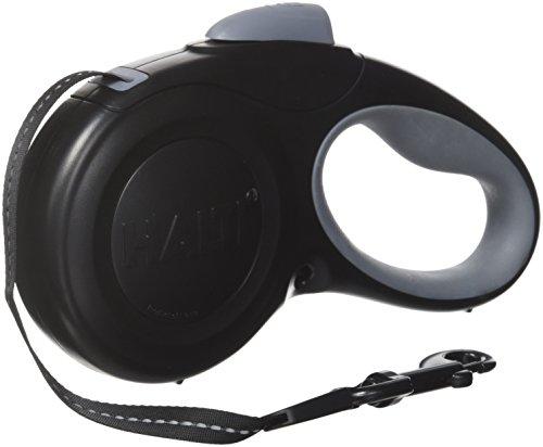 HALTI Roll-Leine, Gurt 5m mit reflektierendem Streifen und ergonomischem Gelgefühl Griff, für Hunde bis maximum 20 kg, Mittelgroß, schwarz