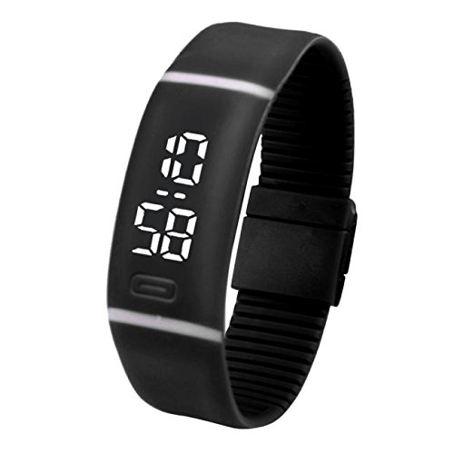 Skang Fitness Uhren, LED Uhr Sportuhr Digitaluhr, Mit Silikon Armband, Casual Sport Design Armbanduhren, Für Frauen und Männer(one Size,Schwarz)