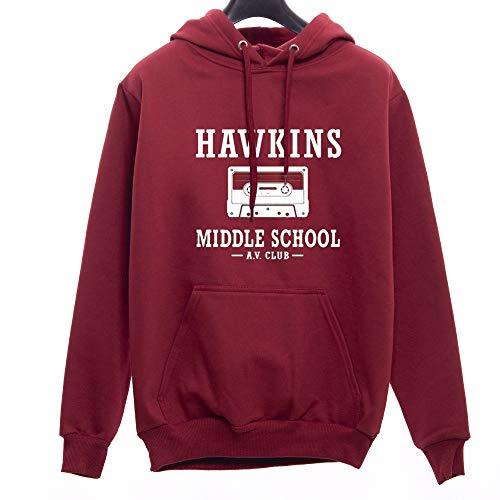 Moletom Canguru Unissex Casaco Stranger Things Hawkins Middle School (Bordô, P)