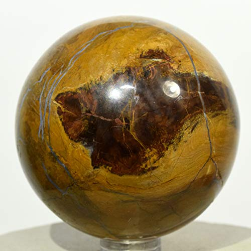 57mm Orange Yellow Petrified Wood Sphere Natural Agate Fossil Crystal Ancient Mineral Polished Stone Ball - India + Stand